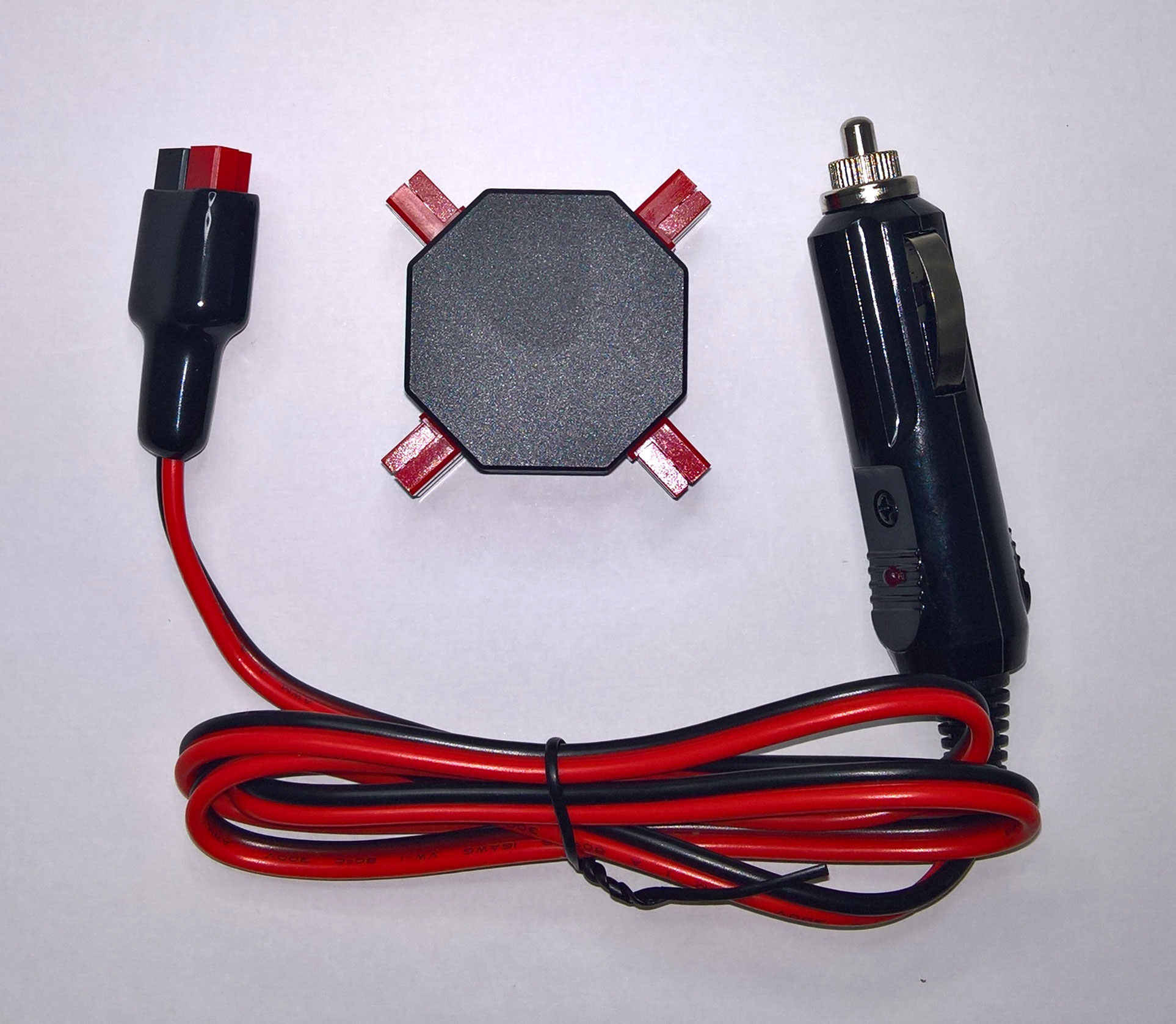 4-way Powerpole compatible splitter with car cigarette lighter power lead