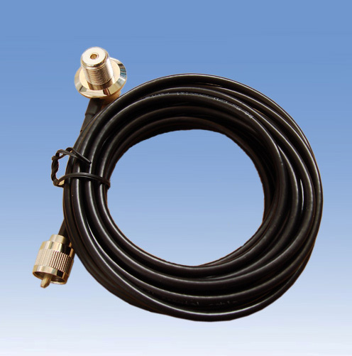 SO239 Antenna socket with retaining nut, 2.85 m (approx.) RG-58 cable and PL259 plug.
