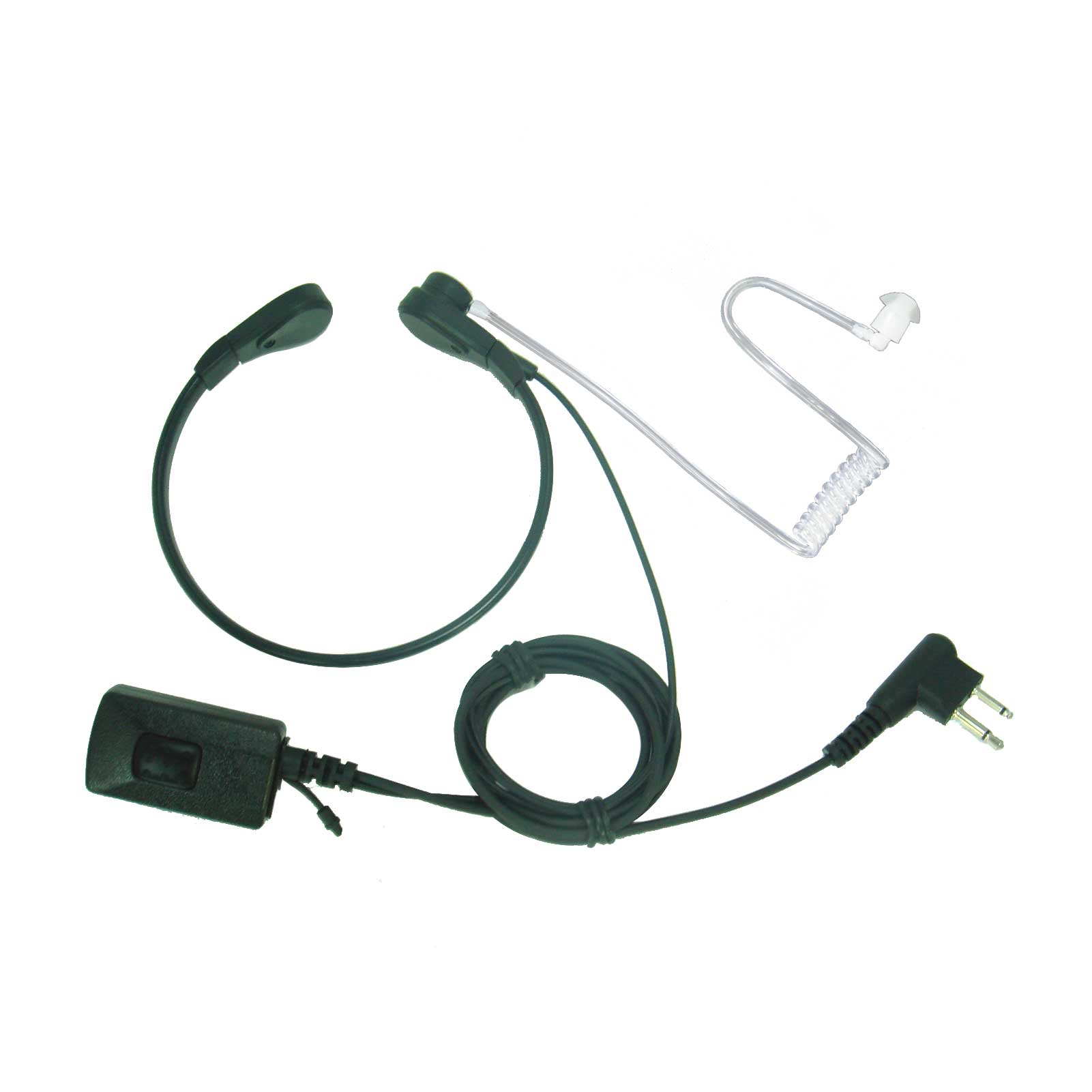 Throat microphone & earpiece with acoustic tube & Kenwood-type two-pin plug